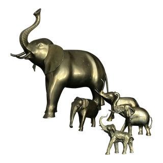 1970s Vintage Brass Elephant Figurines - Set of 5 For Sale