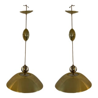 Mid-Century Brass Pendant Chandeliers - a Pair For Sale