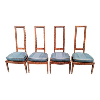 Set of 4 Vintage Mid Century Modern Tortoiseshell and Lucite Tall Back Upholstered Dining Room Chairs For Sale