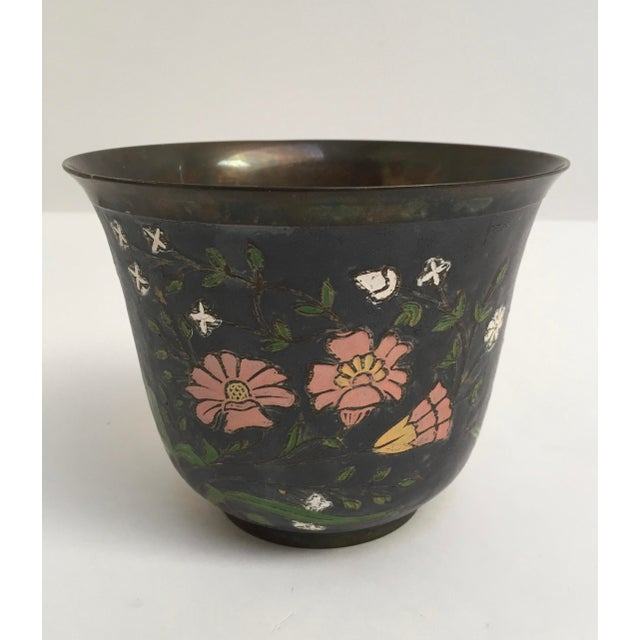 Asian Asian Cloissone Enamel Vessel With Floral Design For Sale - Image 3 of 10