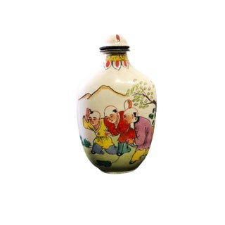 Superb Chinese Colorful Enamel Snuff Bottle 3' H For Sale