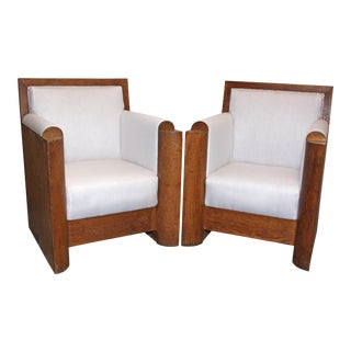 French 1930s Wood Club Chairs - a Pair For Sale