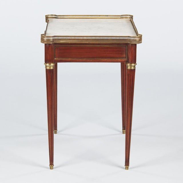 Louis XVI Style Marble-Top Rosewood Side/Serving Table, 1900s - Image 8 of 10