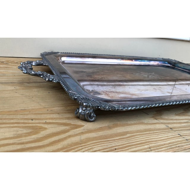 A very large and very heavy (over 10 lbs!) vintage estate tray by English Silver Co. Silver on copper Engraved crest says...