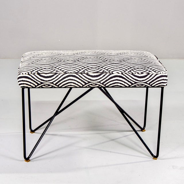 Found in Italy, this midcentury style bench is new with an upholstered seat newly upholstered in a woven black and white...