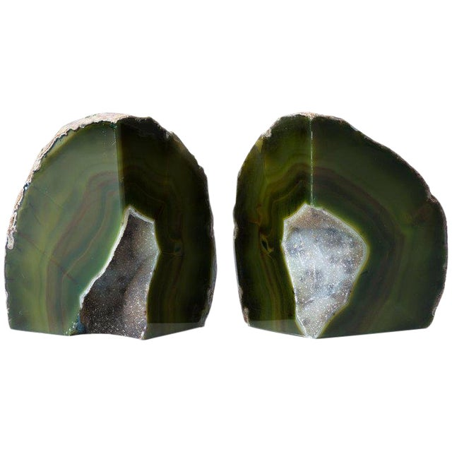 Pair of Organic Modern Agate Stone and Crystal Bookends in Moss Green For Sale