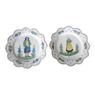 Henriot Quimper French Country Wall Plates - Set of 2 For Sale