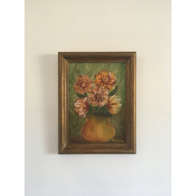Hollywood Regency Vintage Floral Still Life Painting on Board For Sale - Image 3 of 8