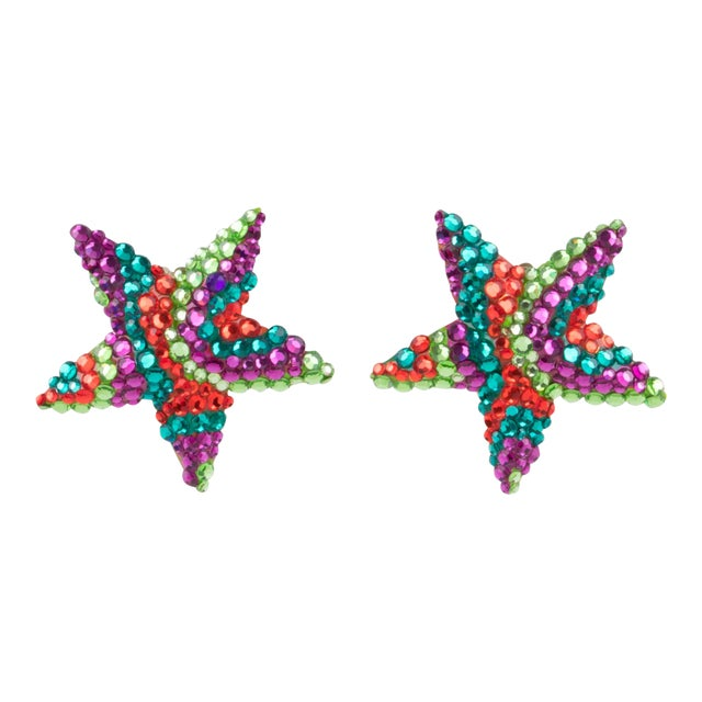 Richard Kerr Multicolor Star Jeweled Clip Earrings For Sale