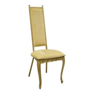 Vintage Kessler French Hollywood Regency Style Cast Metal Tall Back Side Chair For Sale