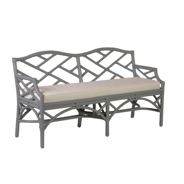 Chippendale Bench - Light Gray For Sale In West Palm - Image 6 of 6
