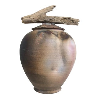 1990s Mid-Century Modern Lidded Pottery Vase With Driftwood Handle For Sale