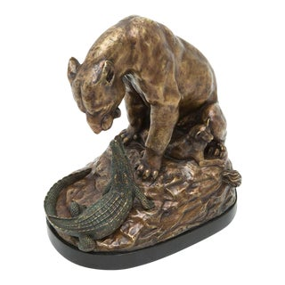 Scarborough House Crocodile and Lioness Statue For Sale