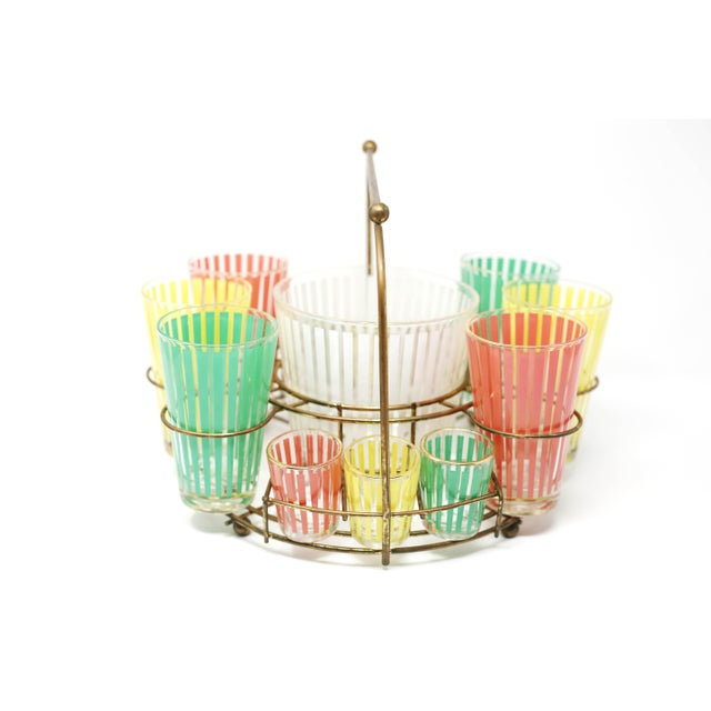 Green Vintage MCM Pastel Stripes Cocktail and Shot Glasses Barware With Ice Bucket and Brass Caddy - Set of 14 For Sale - Image 8 of 13