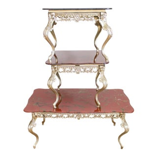 Brass Cabriole Coffee Table and Side Tables with Scalloped, Marbled Glass Tops; Matching set of Three