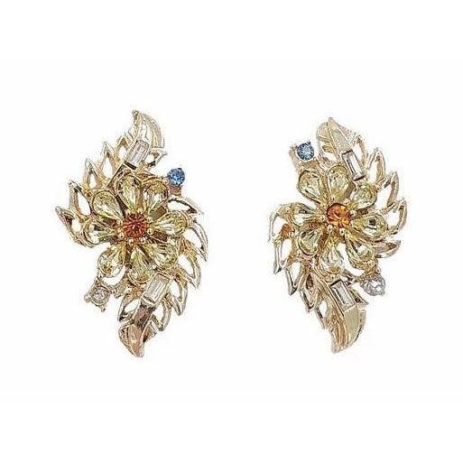 Gemstone Early 1950s Corocraft Rhinestone Flower Earrings For Sale - Image 7 of 7