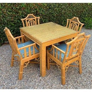 5-Piece Chinese Chippendale Style Bamboo Game Dining Table and Armchairs Preview