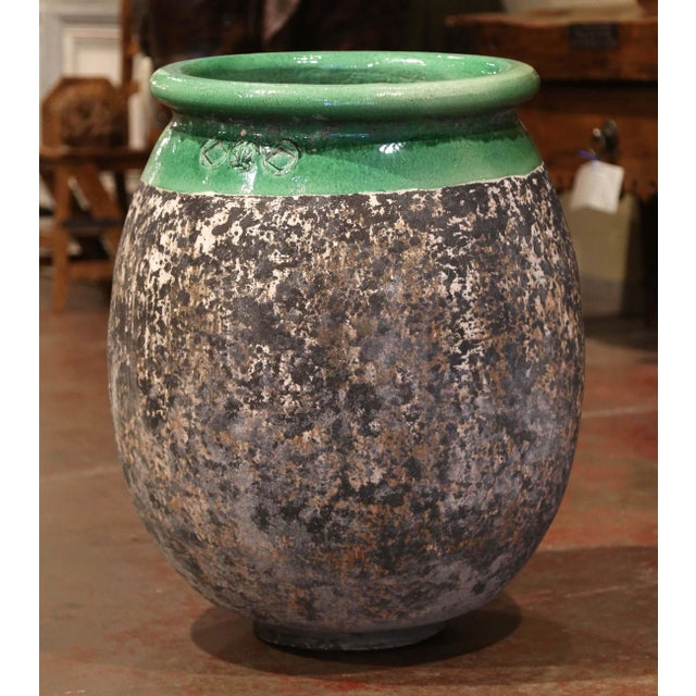 Clay Large French Terracotta Olive Jar With Green Glazed Neck From Provence For Sale - Image 7 of 8