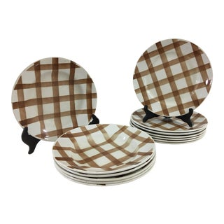 Brown and White French Stoneware Soup and Salad Plates - Set of 13 For Sale