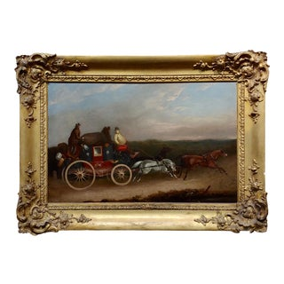 Georgian Horse Drawn Royal Mail Coach-18th Century Oil Painting For Sale