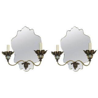Pair of Venetian Mirrored-Back Two-Arm Sconces For Sale
