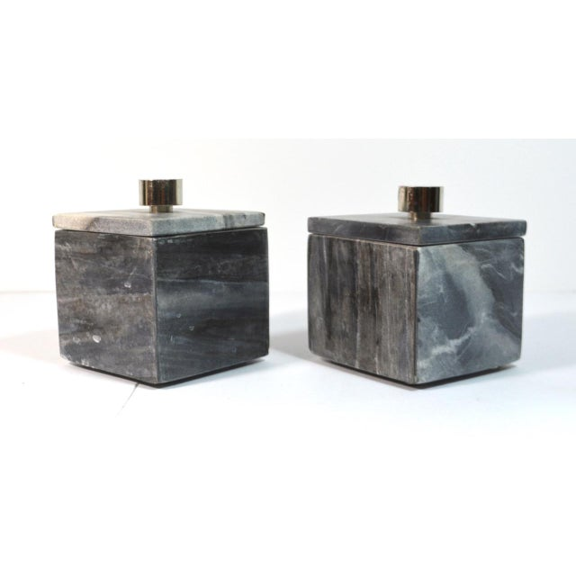 """This is a pair of almost identical small square slate gray marble boxes with separate lids. They measure 3 1/2"""" square and..."""