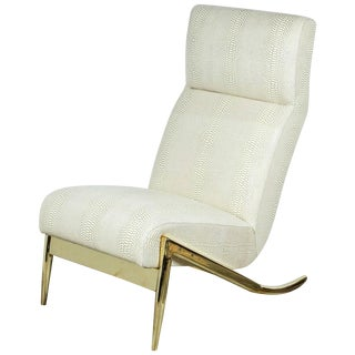 Paul Marra Slipper Chair in Brass with Faux Python For Sale