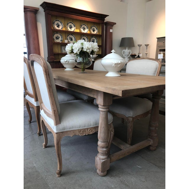 Tan French Antique Scrubbed Dining Table For Sale - Image 8 of 8