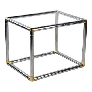 1960s Mid-Century Modern Chrome and Glass Cube End Table For Sale