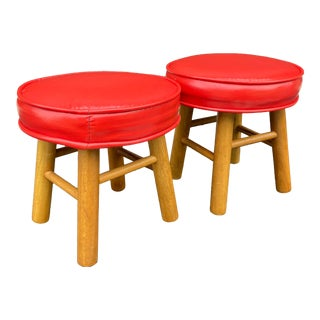 1980s Red Vinyl Footstools - a Pair For Sale