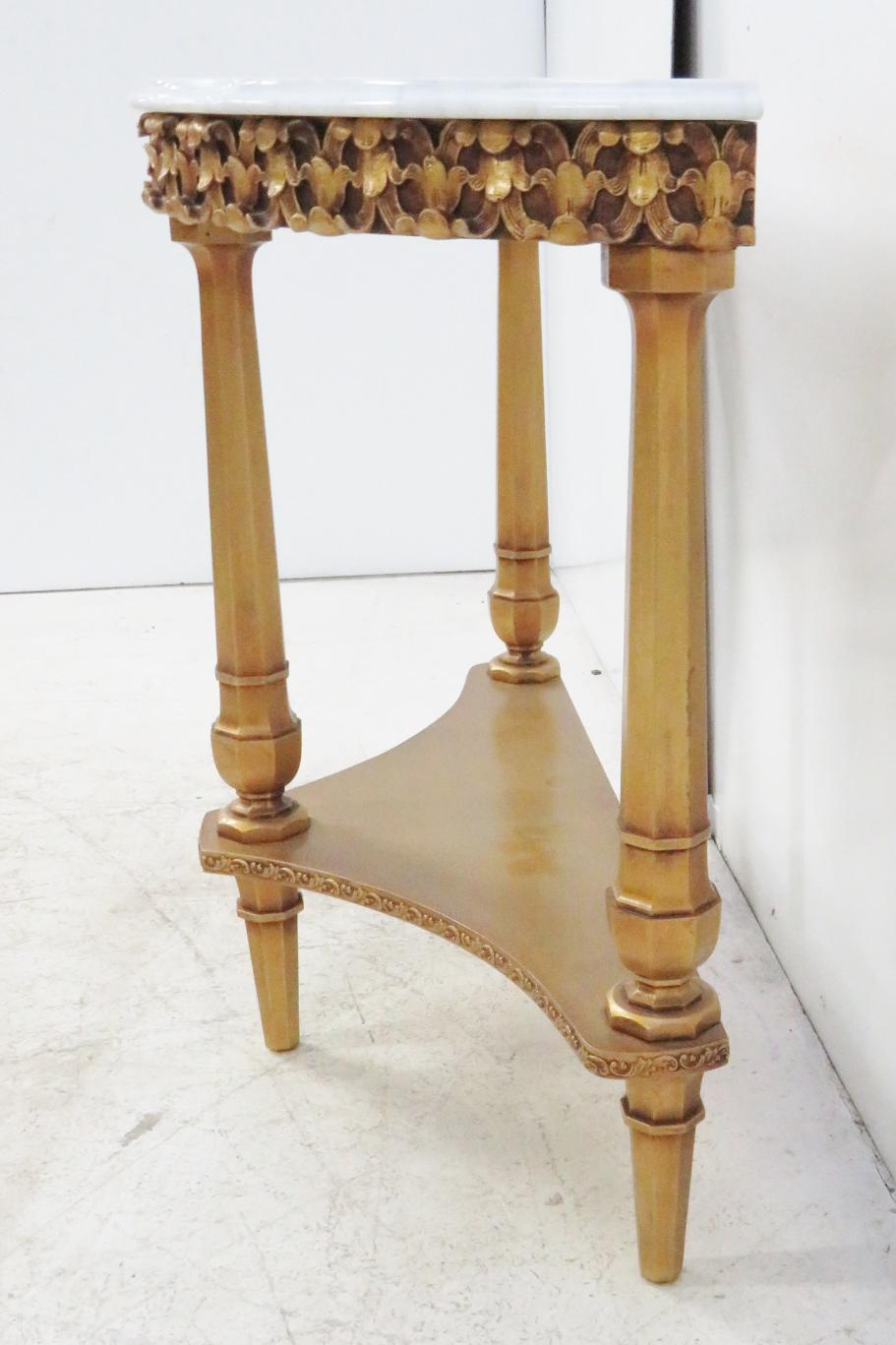 Superbe French Style Marble Top Console Table With Gold Painted Finish Carved Skirt  , Lower Shelf