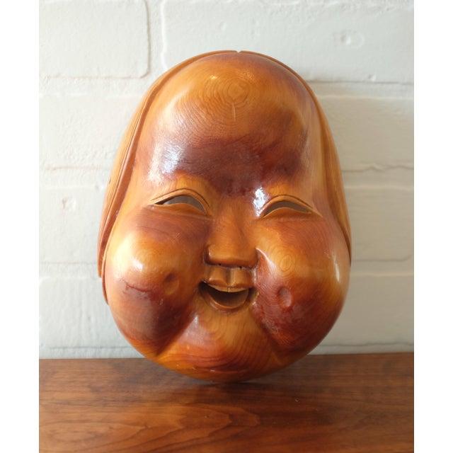 Vintage Hand Carved Wooden Japanese Mask For Sale - Image 9 of 9