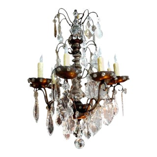 Antique French Maison Baguès Attributed Beaded and Crystal Chandelier For Sale