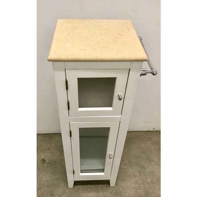 Contemporary Marble Top Storage Side Table - Image 4 of 10