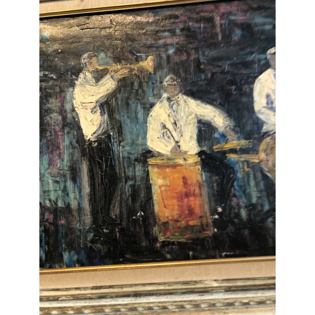 Four Piece Jazz Players Oil Painting For Sale - Image 4 of 8