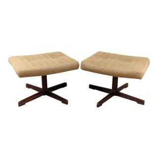 Danish Modern Rosewood Swivel Ottomans - A Pair