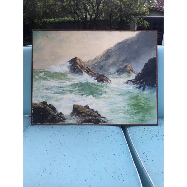 """Breaking Waves"" Framed Oil on Canvas Painting For Sale - Image 10 of 10"