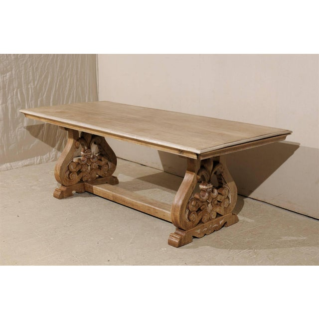 Mid 19th Century 19th Century Italian Bleached Wood Dining Table With Lyre Shaped Base For Sale - Image 5 of 11