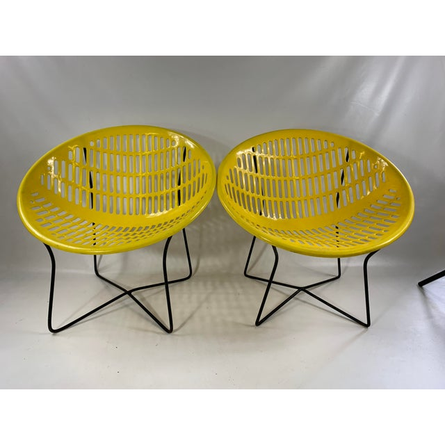 Mid Century Howard Johnson Hotel Yellow Solar Lounge Chairs - a Pair For Sale - Image 11 of 11