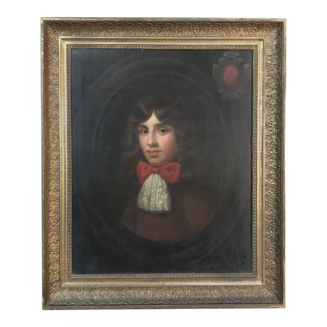 18th Century Framed Oil Portrait on Canvas For Sale