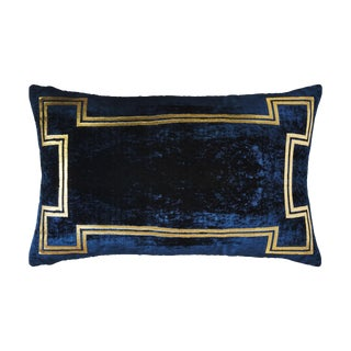 Aria Blue Silk Velvet Lumbar Pillow With Gold Foil Accents For Sale