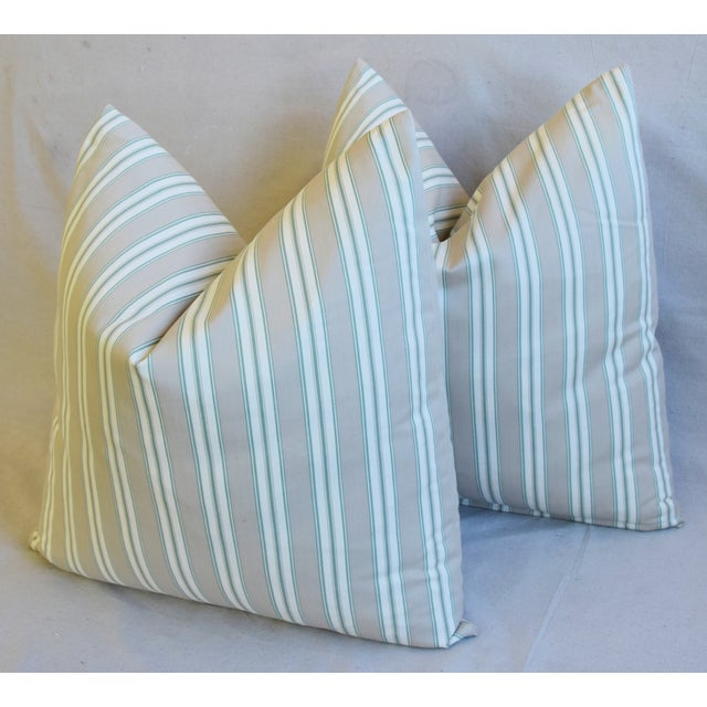 """Green French Striped Ticking Feather/Down Pillows 23"""" Square - Pair For Sale - Image 8 of 11"""
