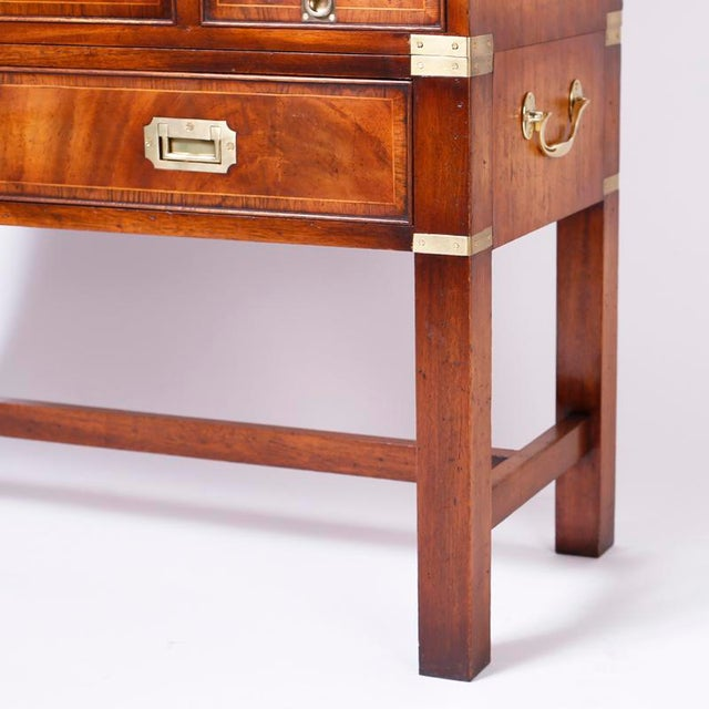 English Campaign Secretary Chest on Stand For Sale - Image 9 of 10