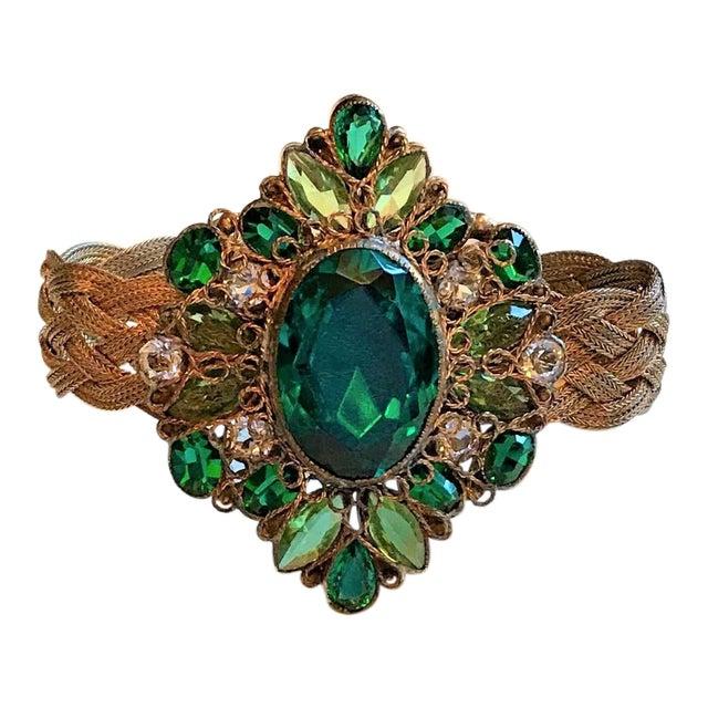 1940s Hobé Emerald Green Jeweled Bracelet For Sale
