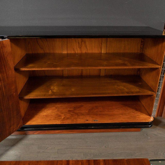 Black Art Deco Machine Age Burled Bookmatched Walnut and Black Lacquer Sideboard For Sale - Image 8 of 10