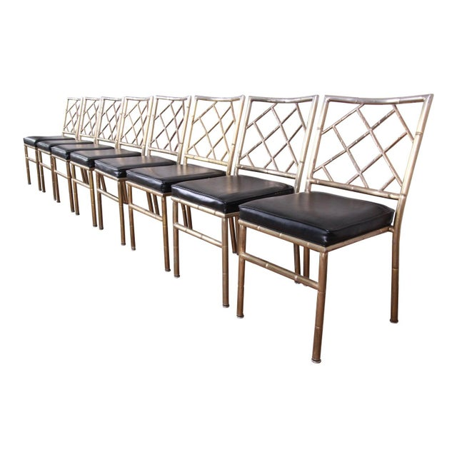 Mid-Century Modern Hollywood Regency Faux Bamboo Brass Dining Chairs - Set of 8 For Sale - Image 13 of 13