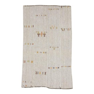 Mid 20th Century Vintage Embroidered Gray Modern Kilim Rug For Sale