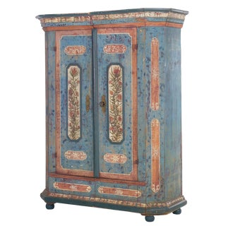"18th Century German Bavarian Blue Painted Antique ""Kas"" Armoire Cabinet For Sale"