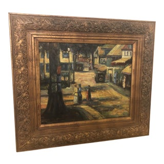 1980s Women Promenading in the City Impressionistic Oil on Canvas Painting For Sale