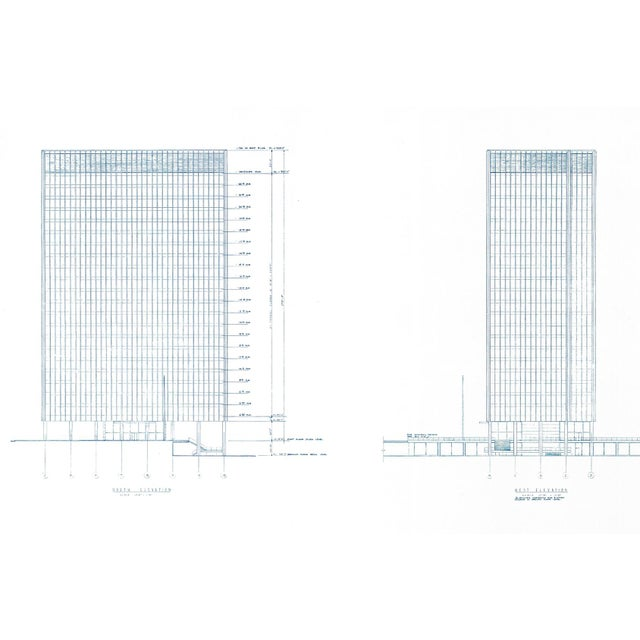 1960s Mies Van Der Rohe Blueprint - One Charles Center, Baltimore 1961 - Elevations For Sale - Image 5 of 13